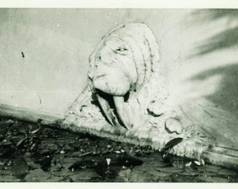 "Vintage Photo ""The Wall Monster"" Scary Snapshot Photo Old Antique Photo Black & White Photograph Found Photo Paper Ephemera Vernacular - 184"