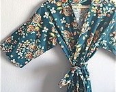 Teal Bridesmaids Robe. Teal Kimono Robe. Dressing Gown. Bathrobe. Teal Floral Love.  Knee and Mid Calf Length. Small thru 2XL.