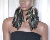 Iridescent Feather Earrings, Bohemian Long Feather Earrings, Natural Brown Feathers, Grizzly Feather Earrings, Boho Earrings,