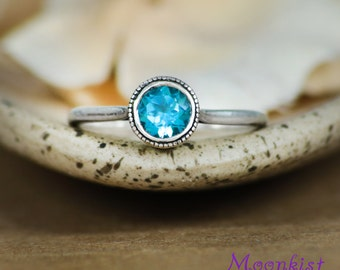 Swiss Blue Topaz Filigree Ring in Sterling - Silver Engagement or Promise Ring - Filigree Mount Solitaire Ring - Choice of Stone