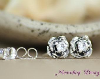 Silver Dainty White Sapphire Flower Post Earrings - Rose Wedding Stud Earrings - Sculptured Rose Stud Earrings - Silver Floral Solitaire