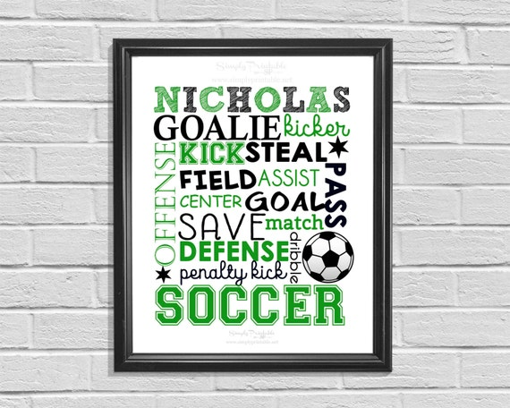 Soccer Wall Print, Personalized Soccer Subway Art, Typography, Soccer Player