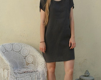 Simple linen dress, knee length dress with pockets in various colors, made after your measures