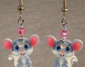 Cartoon Mouse Dangle Earrings - surgical steel