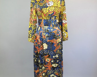 1970s Graphic Abstract Maxi Dress