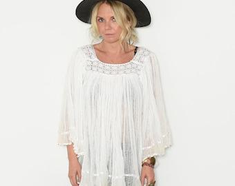 Vintage Mexican Cotton Gauze Tunic, BOHO Sleeve Top