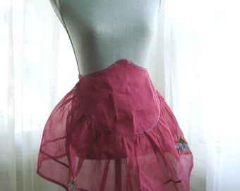 Sheer Organdy Raspberry Pink 1950's Bridal Half Apron, Hostess Apron