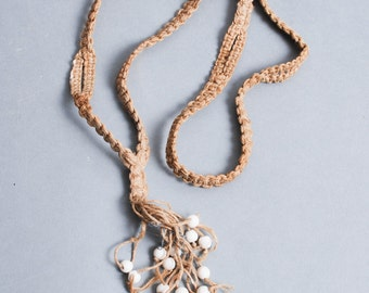 Vintage macrame necklace. flax with glass beads