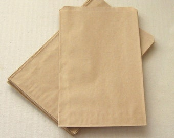 100 High Quality Flat Kraft Paper Bags - almost 5 x 7 1/2 inches, actual size 4 7/8 x 7 3/8 - Recyclable Wedding Candy Buffet Bags