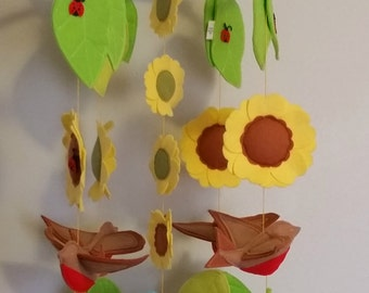 Bird Mobile, Sunflowers  and Ladybugs Mobile, ,Baby Mobile, Nursery Mobile, Blue Bird and Robins Mobile,  Butterflies Mobile,  Nature Mobile