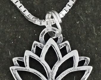 Lotus Flower Pendant Sterling Silver Necklace With 18 Inch Box Chain