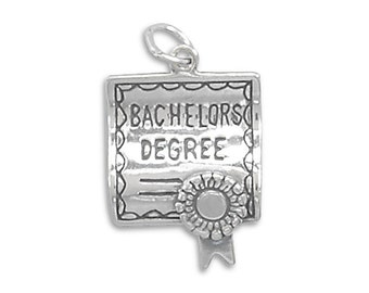 Bachelor's Degree Diploma Charm Pendant Sterling Silver 925