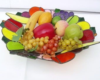Vintage Fruit Bowl, Table Centerpiece, Stain Glass Style, Plexiglass Art, Faux Fruits