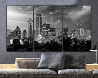 Dallas Skyline Canvas Set, B&W Large Wall art of Dallas Print, Dallas Canvas, Dallas Art, Dallas Photo, Dallas Wall Art, Large Canvas Art