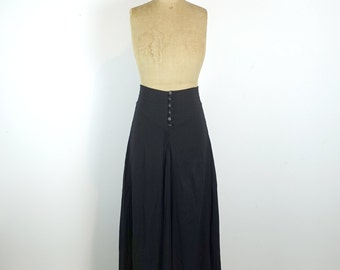 Vintage luxury designer Scanlan and Theodore black polyester crepe maxi skirt, pleats, pintucks and English smocking, Size AU/UK10