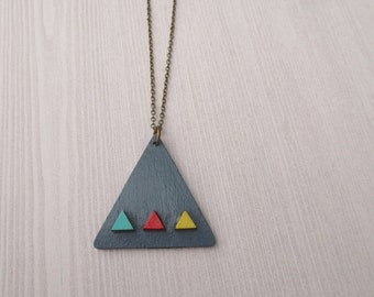 Alta - Long Brass Grey Geometric Necklace; Handpainted Triangle Pendant in Gray, Blue, Fuschia,and Yellow (Collier Triangle) by InfinEight