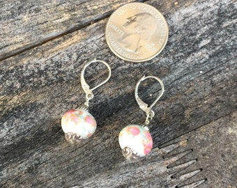 Porcelain and sterling silver earrings, white and pink flowers OOAK earrings,beautiful art bead earrings, sterling silver lever back earring