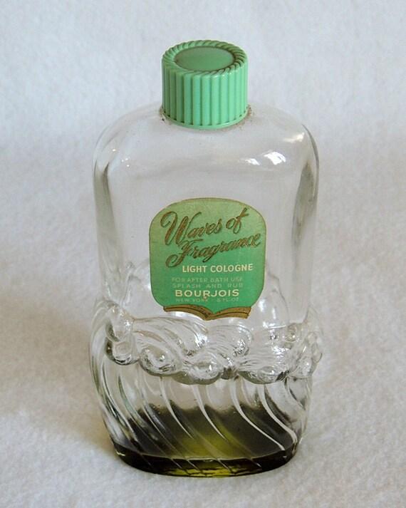 Vintage Bourjois 8oz Cologne Perfume Bottle.. Waves Of Fragrance.. Beach Seaside Décor