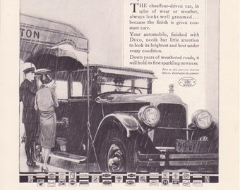 1925 Duco 1920's Car with chauffeur Vintage Advertising Print Wall Art Decor