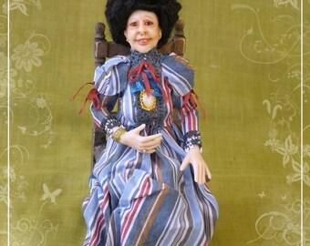 MARIA DOLORES ooak elderly Edwardian lady 1:12 dollhouse doll by Soraya Merino