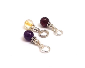 Gift Sets of 3 Gemstone Sterling Charms, Garnet Citrine Birthstones, Party Favors, Bridesmaids Gifts on a Budget, Amethyst Onyx, Rose Quartz