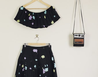 Altered Floral Black and Pastel 90s Print Twin Set off the Shoulder Crop and Matching Skirt Festival
