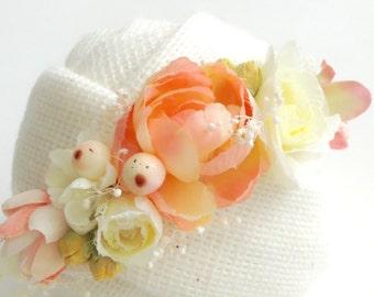 Newborn baby prop yellow & peach headband, newborn photography