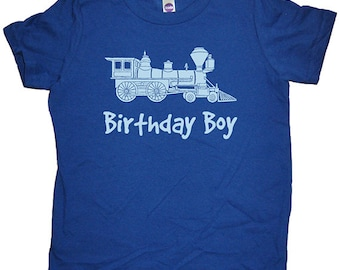Birthday Shirt Train Engine Kids Engineer Train Birthday Boy Tee - Multiple Colors - Kids Tshirt Sizes 2T, 4T, 6, 8, 10, 12 - Gift Friendly