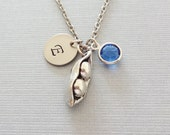 Two Peas In A Pod Necklace, Mom Necklace, Mother Jewelry, Swarovski Birthstone,Silver Initial,Personalized, Monogram, Hand Stamped Letter