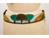 Vintage leather applique belt / Hippie tree nature scene / Suede patchwork / East West style  M L