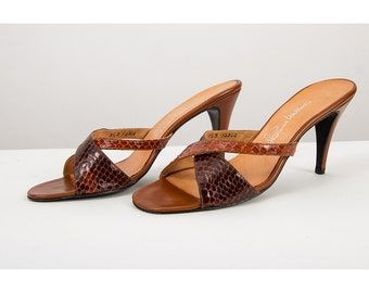Vintage mules / 1970s snakeskin open toe strappy heeled pumps 9.5