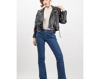 Vintage leather jacket / Black cropped leather moto / Motorcycle jacket S M