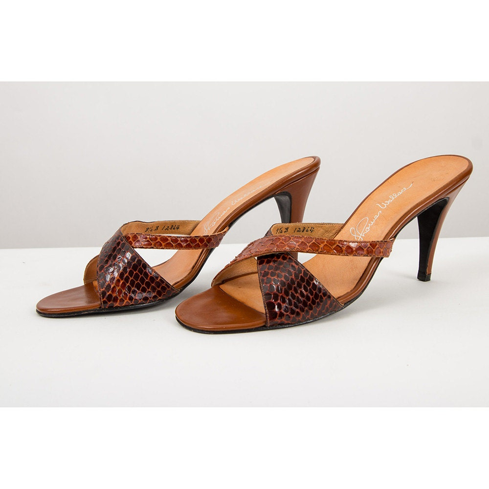 Vintage mules / 1970s snakeskin open toe strappy heeled pumps