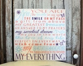Inspirational Sign My Sunshine Sign, My Everything Sign, Nursery Sign, Quote Sign, Baby Sign, Wall Sign, Wall Art Canvas