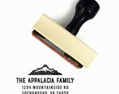 Custom Mountain Address Stamp - Vintage Style Return Address - Wood Mounted Rubber Stamp - Wedding Housewarming Realtor Gift
