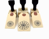 Rubber Stamp Set Zinnia Flowers - #1 #2 + Lg Hand Drawn Designs - Boxed Stamp Set