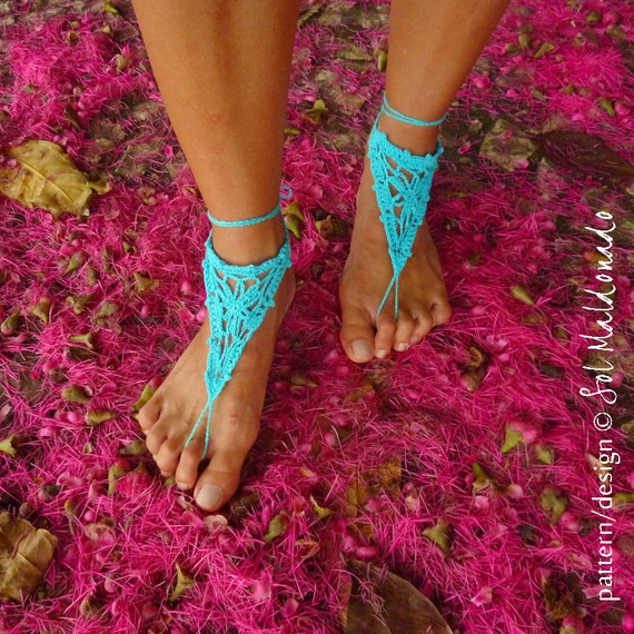 Barefoot Crochet Sandles Pattern PDF - nude shoes summer accessories  - Instant Download