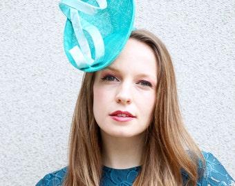 Teal Blue Kimono Silk Fascinator Hat