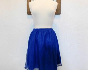 Blue Chiffon Skirt Vintage 90s Full Skirt Mini Skirt - L