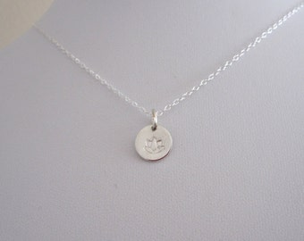 Small LOTUS FLOWER stamped round charm sterling silver necklace, minimalistic necklace