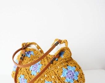 Handbag Hand Crochet bag Crochet handbag Mustard bag Crochet Purse Handmade handbag Summer Bag Leather Bag Mustard Purse