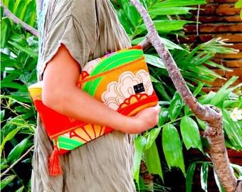 """Kimono Clutch Bag  """"Asian Orange"""""""