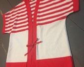 Vintage 1970's Red White Striped Nautical Kimono Style Preppy Top Blouse Shirt Tie Front L