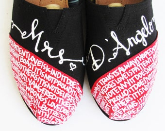 The D' Angelo - Black White and Red Custom Wedding TOMS