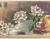 Edwardian Easter- 1900s Antique Postcard- Cherry Blossoms- Easter Chick- Spring Decor- Old Shoe Planter- Easter Art Flowers- Paper Ephemera