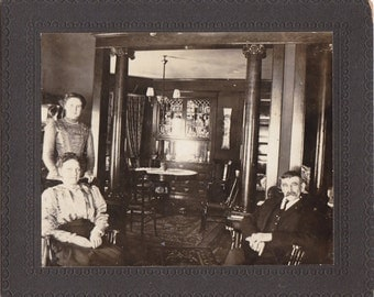 Aunt Carrie's House- 1800s Antique Photograph- Victorian Family- Home Interior- 19th Century- Cabinet Photo- Found Photo- Paper Ephemera
