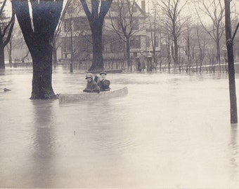 Merrily Down the Street- 1910s Antique Photograph- Great Flood of 1913- Natural Disaster- Real Photo Postcard- AZO RPPC- Paper Ephemera