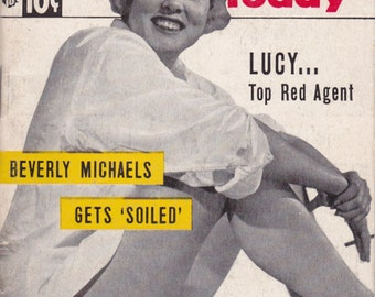 Beverly Michaels Gets Soiled- 1950s Vintage Magazine- People Today- July 15, 1953-Lucy Red Agent- Beachcake- 50s Pin Ups- Paper Ephemera