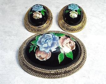 Vintage Jewelry Set, Rose Earrings, Rose Brooch, Vintage Earrings, Vintage Brooch, Vintage Pin, Floral Jewelry, Black Pink Blue, Clip on
