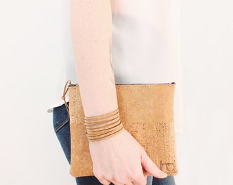 Small Essentials Cork Zip Pouch - Handmade EcoFriendly Sustainable Fashion Travel Accessories For Her or Him